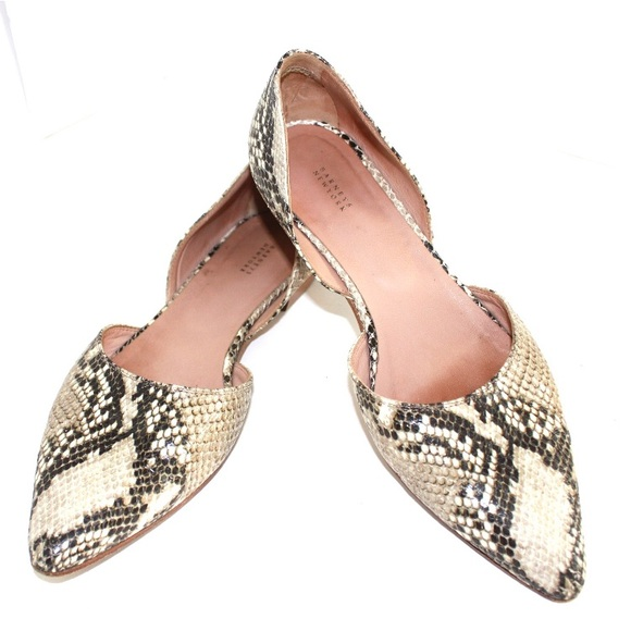 Barneys New York Shoes - Barneys New York Python Leather Pointed Flats